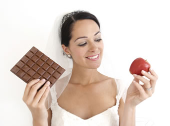 bride holding chocolate and apple 2